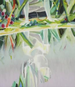 鏡をくぐる passing through a mirror 2014 Oil on cotton, panel 75 x 65 cm