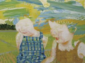 青い庭 blue garden 2008 Oil, acrylic, dyed mud pigment and pencil on cotton, panel 90 x 120.3 cm