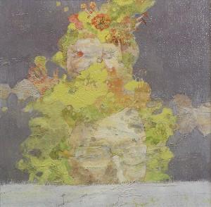 クラウ clound 2007 Oil, acrylic, dyed mud pigment and pencil on nonwoven fabric, panel 30 x 30 cm