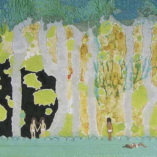 木の子 children of tree 2008 Oil, acrylic, dyed mud pigment and pencil on nonwoven fabric, panel 11.2 x 23 cm