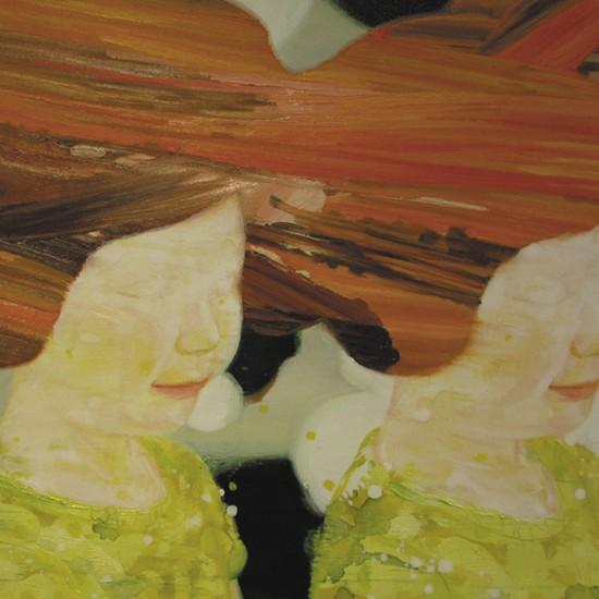 堂ヶ島ガール DOUGASHIMA Girl 2009 Oil, dyed mud pigment, beeswax and pencil on cotton, panel 41.5 x 59.5 cm