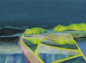 floats 2013 Oil and acrylic on cotton, panel 17 x 23 cm