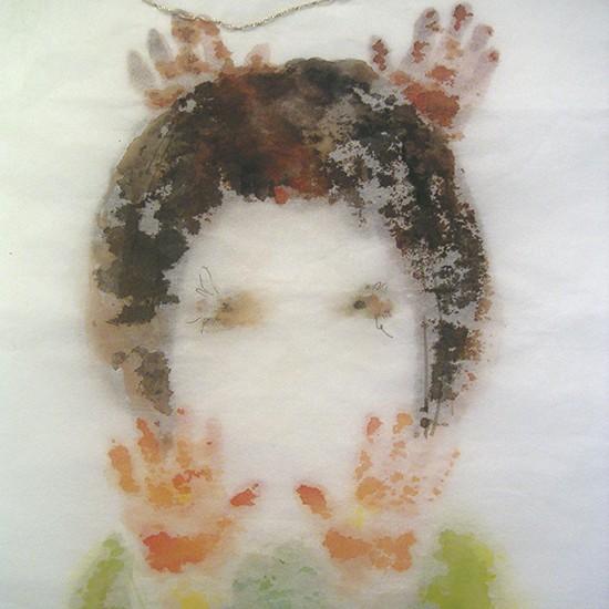 ギフト gift 2007 water color, pen, thread on paper 48.6 x 33 cm