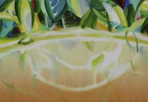 水の裏の庭 a garden behind pool of the water 2014 Oil on cotton, panel 24.3 x 35 cm
