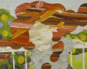 マッド・フルーツ・ツリー mud fruits tree 2009-2010 Oil, beeswax and pencil on cotton, panel 72.7 x 91 cm