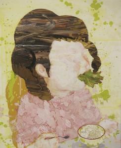 食事 meal 2008 Oil, acrylic, dyed mud pigment and pencil on cotton, panel 65.2 x 53 cm