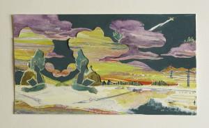 もしもし moshi-moshi 2011 Acrylic, watercolor and pencil on paper 13 x 23.5 cm