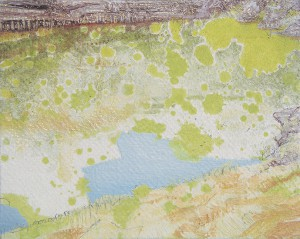 our fantasy  2007 Oil, acrylic, dyed mud pigment and pencil on nonwoven fabric, panel 12.2 x 15.3 cm