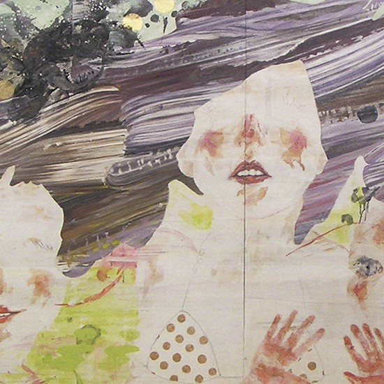prime number girl  2006 Oil, acrylic, dyed mud pigment, mineral pigment, leaf and pencil on nonwoven fabric, panels 130 x 354 cm
