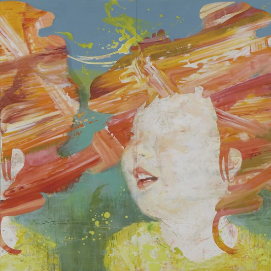 """prime number girl """"laughing""""  2006-2007 Oil, acrylic, dyed mud pigment and pencil on nonwoven fabric, panels 182 x 364 cm"""