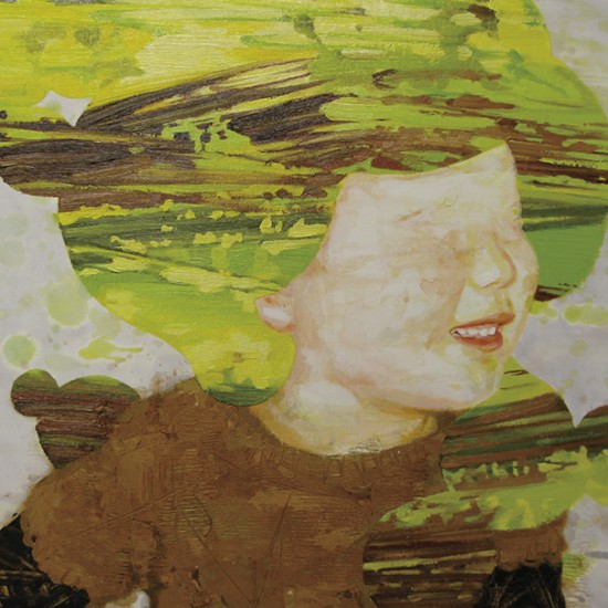 """prime number girl """"mint"""" 2008 Oil, acrylic, dyed mud pigment, beeswax and pencil on cotton, panel 42 x 48 cm"""