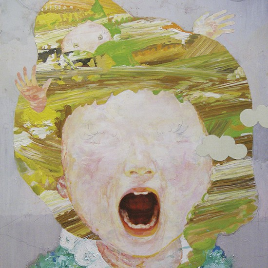 """prime number girl """"singing"""" 2008 Oil, acrylic, dyed mud pigment and pencil on cotton, panel 100 x 91.3 cm"""