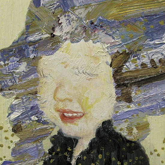 """prime number girl """"violet"""" 2008 Oil, acrylic, dyed mud pigment and pencil on cotton, panel 14.5 x 13 cm"""