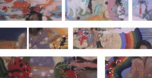 peepholes 2003 Oil, tempera and acrylic on panels about 110 x 260 cm