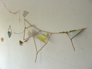 プレビュー preview 2014 Watercolor and gouache on paper, wood, cloth, thread  variable size