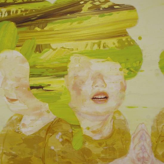 プリズムの泥 prismatic mud 2009 Oil, dyed mud pigment, beeswax and pencil on cotton, panel 65.2 x 91 cm