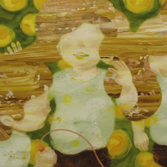 なわとび skipping rope 2010 Oil, beeswax and pencil on cotton, panel 50 x 60 cm