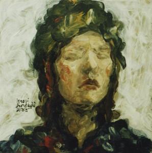 自画像 self portrait 2003 Oil on board, silver leaf 30 x 30 cm