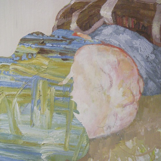 sleeping skin 2008 Oil, acrylic, dyed mud pigment and pencil on cotton, panel 47.9 x 44.5 cm