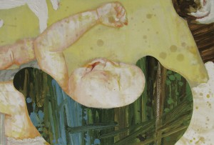 """sleeping skin """"kitty"""" 2008 Oil, acrylic, dyed mud pigment and pencil on cotton, panel 40 x 60.2 cm"""