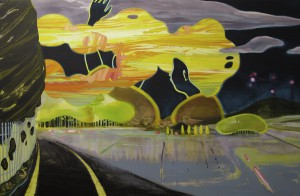 Switched Fukei switched landscape 2011 Oil, acrylic and pencil on cotton, panel 97 x 145.5 cm