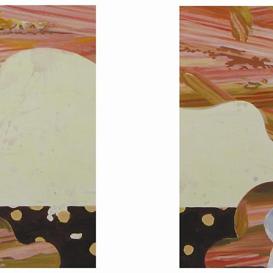 トーク・トゥ・ミー talk to me 2008 Oil, acrylic, dyed mud pigment, beeswax and pencil on cotton, panel 90 x 140 cm x 2