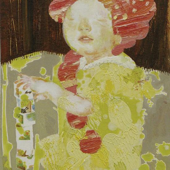 トイ toy 2008 Oil, acrylic, dyed mud pigment and pencil on cotton, panel 18.8 x 12.7 cm