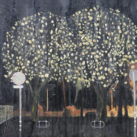 木と木と夜 tree tree night 2008 Oil, acrylic, dyed mud pigment and pencil on cotton, panel 33.8 x 26.3 cm