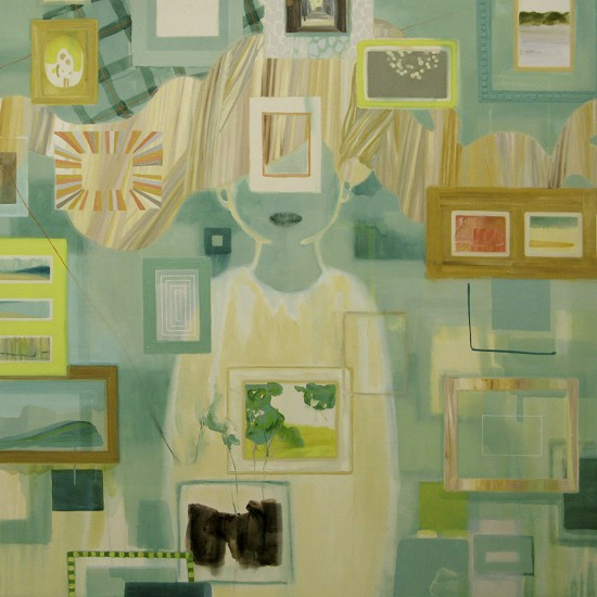 旅を満たす器 あるいは希釈するもの Things that fills and dilutes your journey 2012 Oil, acrylic, beeswax and pencil on cotton, panel 145.5 x 145.5 cm