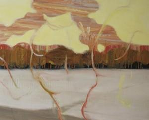 空中歩行 walking in the air 2012 Oil, acrylic and pencil on cotton, panel 53 x 65.2 cm