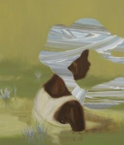 温かい水 warm water 2012 Oil, acrylic, beeswax and pencil on cotton, panel 60 x 50 cm