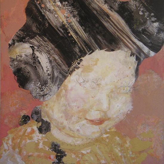 理想の女の子 your ideal girl 2007 Oil, acrylic, dyed mud pigment and pencil on nonwoven fabric, panel 92 x 72.8 cm