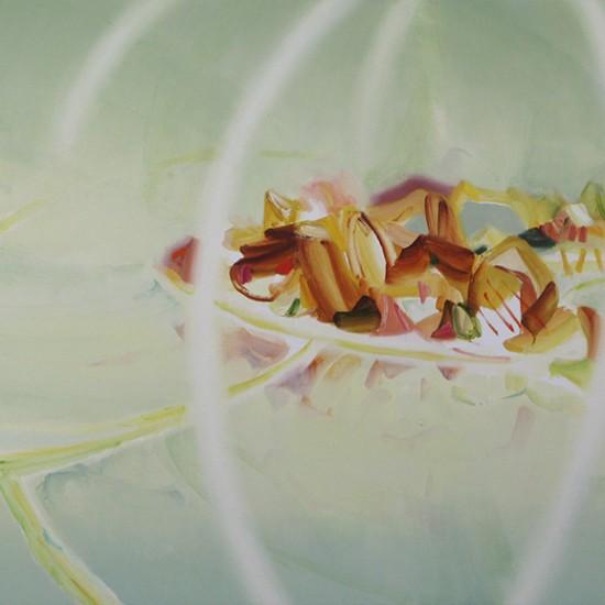 外を眺める、片目は果物皿におく I look out while keeping one eye on that fruits 2015 Oil on cotton, panel 93 x 145.5 cm