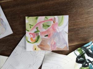 透明人間にならない/まじない(部分) drawings as charms, lots of restless lines (detail) 2017 Watercolor, acrylic and pen on paper