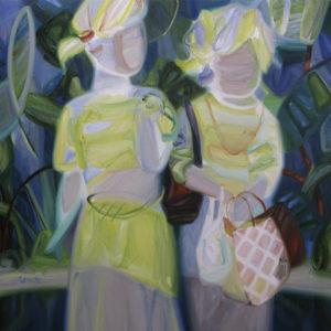 祖母と娘 grandmother and my daughter 2017 Oil on cotton, panel 91 x 91 cm