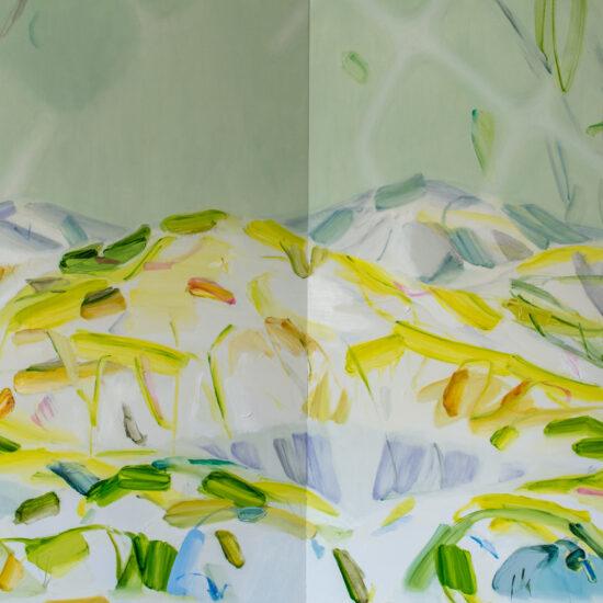遭難のとき Lost in the Mountains 2019 Oil on cotton on panel 200 x 460 cm/ exhibited in Nakanojo Biennale 2019, Photo by Kazuyuki Miyamoto
